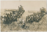 Harvest crews in field with combines, horse teams and car with family in front, Clarkston,...