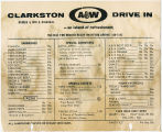 Clarkston A&W drive-in menu