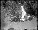 Marjorie and turkeys, Sept. 1908