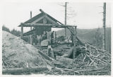 Louis Skinner sawmill, cutting large timber, Cowlitz County, Washington, 1951