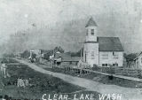 Congregational Church, early street scene, Clear Lake, Washington, circa 1906-1912