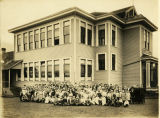 Clear Lake Students and faculty on west side of school, 1912