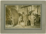 Clear Lake Lumber Company shingle mill, George Gates and unidentified man, circa 1910