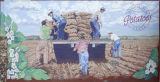 Mural, potato harvest, Connell, Washington