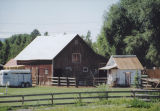 Barn and horse trailer