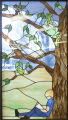 Stained glass panels in bay window (trees), Ellensburg Public Library, Ellensburg, Washington