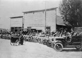 Rufus Baker and Ellensburg, Washington citizens showing off early automobiles, circa 1900-1909