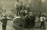 Old camp, group of men on log