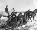 Horse-drawn sled transportation
