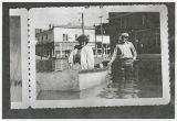 Flood in Kalama, Washington, 1948, boating in the streets