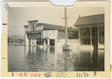 Corner of First & Elm Streets during flood, Kalama, Washington, 1948