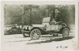 Katie Young in her Chalmers roadster, Klickitat County, Washington, 1916