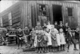 School children & teacher, old log school, Center, c. 1882