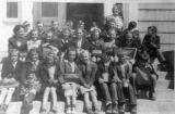 School group on steps, 1941 - 1942