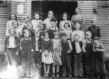 Mud Bay school, students & teacher, 1934 - 1935