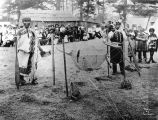 Early reef netting demonstration by Lummi men at Village Point, Lummi Island