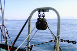 Block used to pull up reef net, Lummi Island, WA, 2006