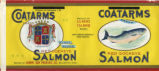 1 lb. can Coatarms Brand Red Sockeye Salmon label, Lummi Bay Packing Co.