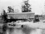 Dungeness Bridge and cows, Clallam county, Washington, 1 of 3, 1890
