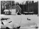 Elwha School with snow, Clallam county, Washington