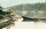 Henry Geoghegan at Echo Bay on Sucia Island tries his hand at a row boat