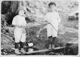 Richard & Jimmie fishing at an inlet to Cascade Lake, Orcas Island, WA, 1922