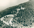 Aerial of tower and road on Mount Constitution
