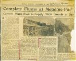 Complete flume at Metaline Falls: Cement plant soon to supply 2000 barrels a day