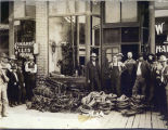 Crowd outside Ward & Meyers Harness Shop, Pomeroy, Washington, circa 1900-1904