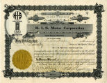 H.I.S. Motor Corporation stock certificate, Pomeroy, Washington, June 4, 1920