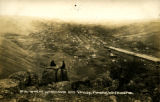Bird's-eye view of Pomeroy showing wheat warehouse, 1895?