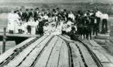 Sunday picnic crowd on Mayview Tramway turntable, Mayview, Washington, circa 1900-1909