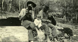 Buck Mallory, Iris and Emery Lyon, with bear cubs, Hunt Spring, Washington, circa 1922