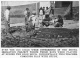 Benge school students build a model irrigation project, Benge, Washington, circa 1925-1926