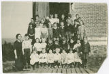 Class portrait on steps, Rockford, Washington, ca. 1900-1909