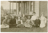 Girls outside a home, Rockford, Washington, ca. 1890-1909