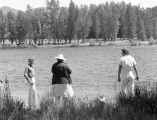 Beatrice Henderson, mother, and brother in Methow River, summer 1942