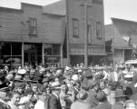 Fraternal Order of Eagles event, crowd in front of Masonic building, Roslyn, Washington, April 23,...