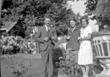 Steve Kauzlarich, Hazel, and Mildred at Snoqualmie Falls, June 12, 1932