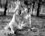 Wilma and Agnes of the Bugni Picnic Group on a picnic on Lookout Mt Summer 1947