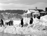 Group of school kids walking near Roslyn school February, 1949