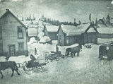 Horse drawn delivery sleighs, early 1900s
