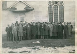 N.W.I. Co. employees in front of Cle Elum Community Church, circa 1945