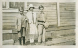 Julia Wallgren with her brother George Kozelisky and Bill Renata in front of South School