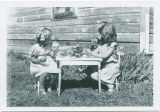 Pat Woodell and friend having a tea party