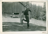 Tom Whited performing rope tricks at Hidden Valley Guest Ranch
