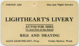 Lightheart's Livery business card