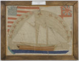 Sailing ship and flags textile and embroidery