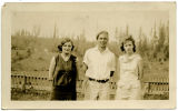 Lyda Nix, Clarence Skaar, and Dorthy Miller at the Cloverdale School, Stevenson Washington