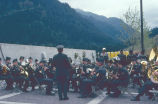 Military band at the opening ceremonies for the second powerhouse on the Bonneville dam